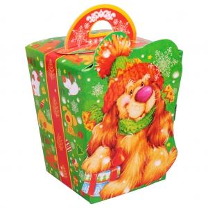 Абрикосик - сладкий новогодний подарок в картонной упаковке, символ 2018 года Собаки