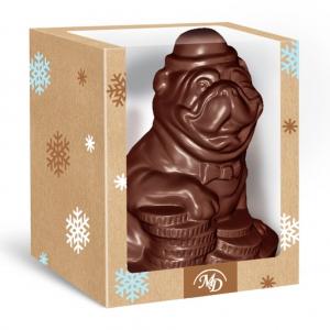 Шоколадная фигурка - пёс Бакс (в коробке)
